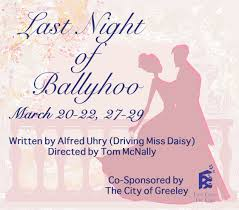 a review of the play ballyhoo The last night of ballyhoo is a play by alfred uhry that premiered in 1996 in  atlanta the play is  jump up to: - review – theater – new york times  nytimescom retrieved 6 march 2015 ^ jump up to: 'the last night of ballyhoo' .