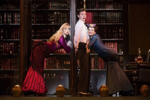 Denver Center National Touring Company. (L-R) Kristen Beth Williams as Sibella Hallward, Kevin Massey as Monty Navarro and Adrienne Eller as Phoebe D'Ysquith in a scene from A Gentleman's Guide to Love & Murder. Photo credit: Joan Marcus