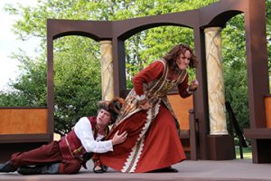 James Burns as Petruchio and Sydney Parks Smith as Katharina in OpenStage Theatre's production of The Taming of the Shrew by William Shakespeare. Photography by Joe Hovorka Photography