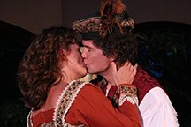 Sydney Parks Smith as Katharina and James Burns as Petruchio in OpenStage Theatre's production of The Taming of the Shrew by William Shakespeare. Photography by Joe Hovorka Photography
