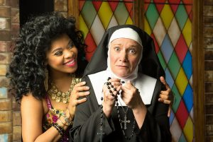 Sister Act Credit Matt Gale Photography 2016 Brit West as Deloris, Megan Van De Hey as Mother Superior