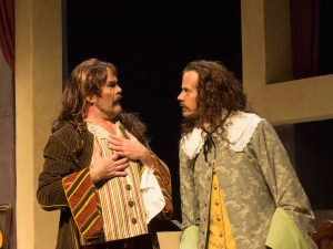 Steven P. Sickles as Valere and Gregory J. Adams as Elomire in OpenStage Theatre's production of La Bête by David Hirson. Photography by Brian Miller Photography