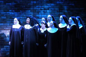 Sister Act Credit P. Switzer Photography 2016 Megan Van Dey Hey (Mother Superior), Brit West (Deloris), Emma Martin (Mary Robert), Kitty Skillman Hilsabeck (Mary Lazarus) and ensemble.