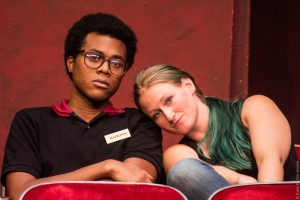 Robert Moore as Avery and Jessica MacMaster as Rose in OpenStage Theatre's production of The Flick by Annie Baker, photography by Kate Austin-Groen Photography
